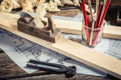 Drawing workshop and vintage carpentry workbench Stock Photos