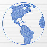 Drawing world globe 6 royalty free illustration