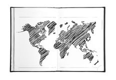 Drawing world map Royalty Free Stock Photos