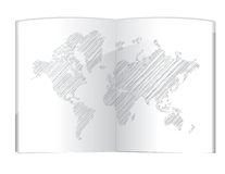 Drawing world map in the book illustration Stock Photo