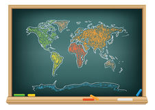 Drawing world map by a chalk Royalty Free Stock Photography