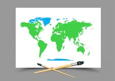 Drawing world map on white paper Royalty Free Stock Photography