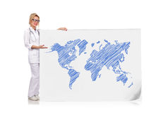 Drawing world map Stock Photos