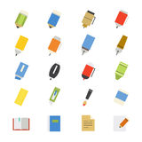 Drawing and Writing Painting Tools Flat Icons color Stock Photos
