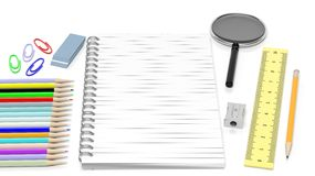 Drawing/writing tools and blank notepad Royalty Free Stock Images
