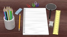 Drawing/writing tools and blank notepad Royalty Free Stock Image