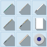 Drawing and Writing tools icon set. Royalty Free Stock Image