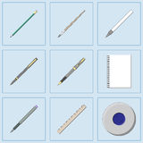 Drawing and Writing tools icon set. Drawing and Writing tools icon set, thin line style, flat design vector illustration