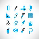 Drawing and writing tools icons Royalty Free Stock Photography