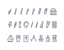 Drawing and writing tools. Line vector icons set Stock Photo