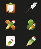 Drawing and Writing Tools With Pen Pencil Icon Set Stock Photography