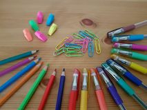 Drawing and writing utensils, Stationery. Drawing and writing instruments, Back to school, School supplies, Office supply, Stationery, Arts and craft royalty free stock images