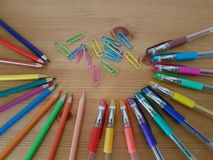 Drawing and writing utensils, Stationery. Drawing and writing instruments, Back to school, School supplies, Office supply, Stationery, Arts and craft stock image
