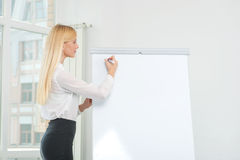 Drawing and writings on a flipchart. Beautiful business woman en Stock Image