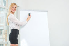 Drawing and writings on a flipchart. Beautiful business woman en Stock Photos