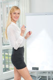 Drawing and writings on a flipchart. Beautiful business woman en Royalty Free Stock Photos