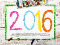 Drawing  - the year 2016. Colorful drawing - the year 2016 Royalty Free Illustration