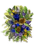 Drawing yellow and blue flowers Stock Image