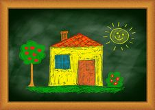 Drawing of yellow house Royalty Free Stock Photography