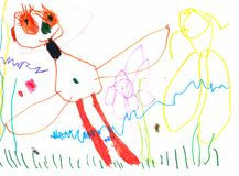 Drawing of a young artist, butterfly with huge eyes and long eyelashes in a meadow of flowers, pencils and markers royalty free stock photo