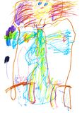 Drawing of a young artist. happy to eat a girl goes to bed, pencils and markers royalty free stock photography
