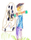 Drawing of a young artist. Scarecrow near the multi-storey building, pencils and markers stock photography