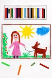 Drawing: Young girl in pink dress walking dog. Colorful drawing: Young girl in pink dress walking dog royalty free stock images
