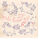 Drawing young horses on notebook sheet. Set of cute horse in cartoon style. Vector illustration Royalty Free Stock Photo