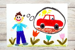 Drawing: young man dreaming about new red car. Photo of colorful drawing: young man dreaming about new red car vector illustration