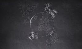 Drawingaround die Welt auf Wand Stockbild