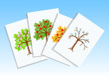 Drawings of apple-trees Royalty Free Stock Image