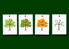 Drawings of apple-trees Royalty Free Stock Photos