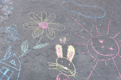 Drawings on asphalt chalk Stock Photo