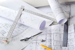 Drawings-blueprints Stock Image