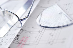 Drawings-blueprints Stock Photo
