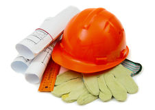 Drawings for building house, helmet and other Stock Photo