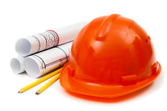Drawings for building house, helmet and other Royalty Free Stock Images