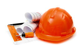 Drawings for building house, helmet and other Royalty Free Stock Photo