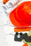 Drawings for building house, helmet and other Royalty Free Stock Photos