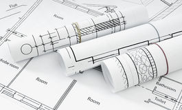 Drawings for building house. Working drawings Royalty Free Stock Photos