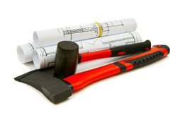 Drawings for building and working tools on white a Royalty Free Stock Photo