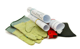 Drawings for building and working tools on white a Royalty Free Stock Photography