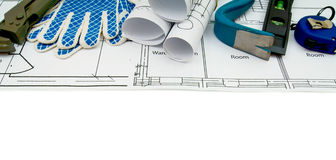 Drawings for building and working tools on white a Stock Images