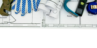 Drawings for building and working tools on white a Stock Photo