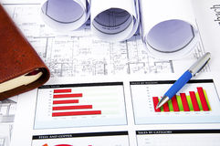 Drawings, charts and daily, business collage Stock Images