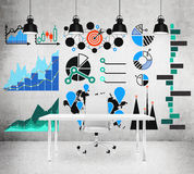 Drawings with charts and graphs on the wall Royalty Free Stock Photography