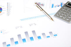 Drawings and charts of successful business Stock Photography