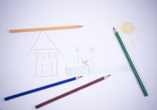 Drawings of children. With crayons stock images