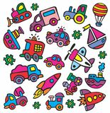 Drawings in a children's style of transport Stock Images