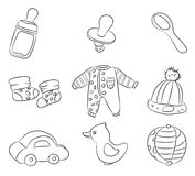 Drawings of children`s things, lines, vector stock illustration